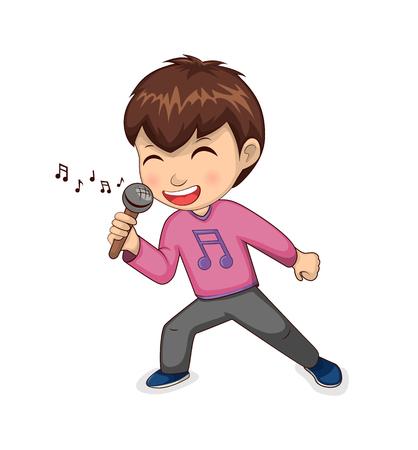 Junge, der glückliches Hobby singt, Kind mit T-Shirt mit Notendruck, Mikrofon in der Hand und lächelnd, Person, isoliert auf Vektorillustration Vektorgrafik