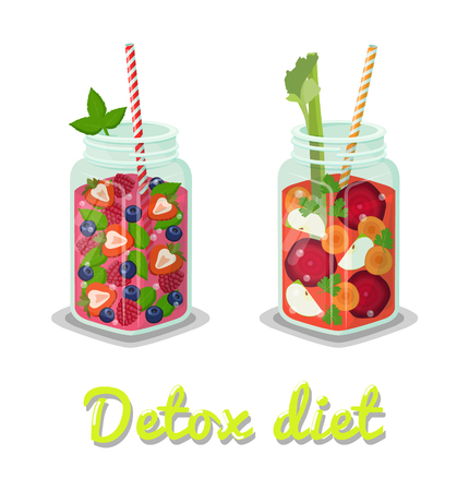 Detox diet refreshing beverages poured in mugs, containing vegetables beetroot, carrot and fruits strawberry, blackcurrant set vector illustration