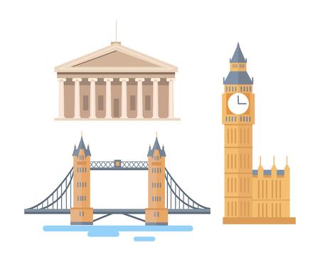 Attrazioni famose in tutto il mondo dall'Inghilterra o dall'America. Set di illustrazioni vettoriali per il Big Ben alto, il grande London Tower Bridge e l'ingresso del Campidoglio di Washington.