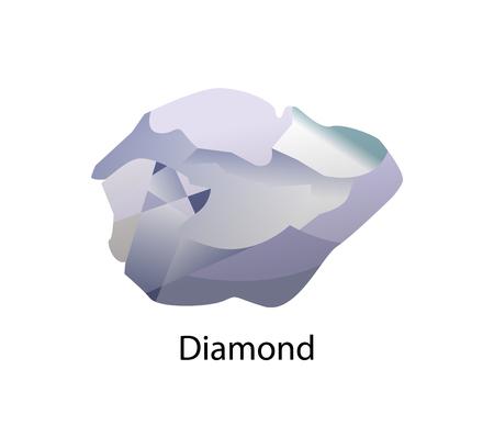 Diamantmetastabiles Allotrop aus kubischem Kristallstrukturgitter aus Kohlenstoff. Teure Edelsteinvektorillustration lokalisiert auf Weiß