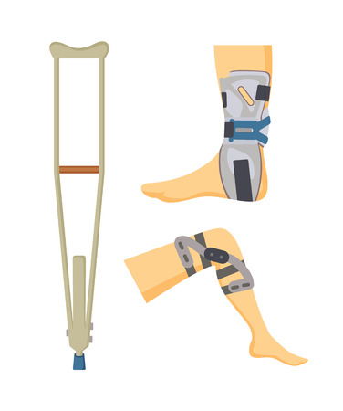 Crutch made of wooden material and adjustments set, orthopedic collection helping objects for patients body parts supporting, vector illustration