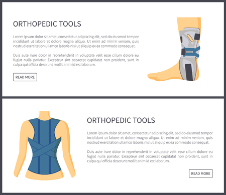 Orthopedic tools internet sites collection bandage and adjustment for spine foot recovering, web pages set text sample isolated on vector illustration