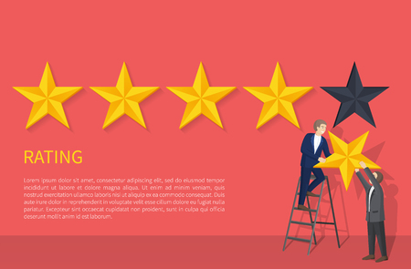 Rating poster with two man on ladder hanging fifth star, appreciation of high level grade, evaluation ranking sign, businessman giving highest mark vector Stock fotó - 112004239