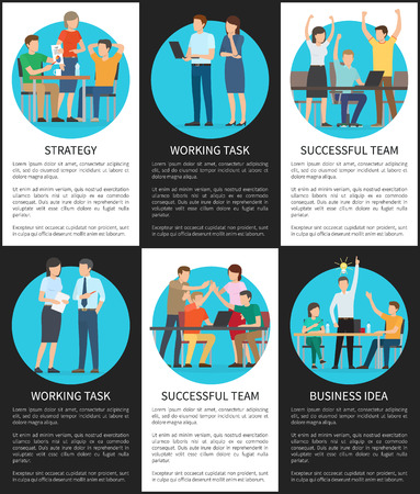 Business idea and working task, black white posters employees busy with work, affairs at job lead by team, collection of banners vector illustration Illustration