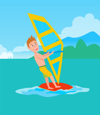 Windsurfing summer sport and activity, male with surfboarder holding sail, excited man, vector illustration at coastline backdrop