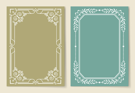 Vintage frames collection white borders isolated on color backgrounds. Decorative baroque paths set ornamental elements in corners vector illustrations Çizim
