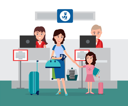 Luggage and passport control, counter with working people in airport checking documents and baggage of passengers, happy family vector illustration