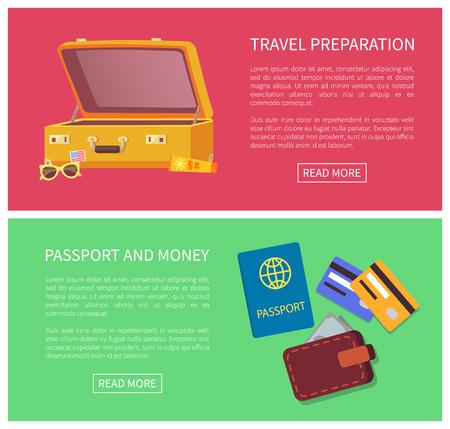 Reiseplanungs-Webseitensatz und Schlagzeile, Textmusterpass, Geldkreditkarten, Gepäck mit Brillensammlung einzeln auf Vektorillustration Vektorgrafik
