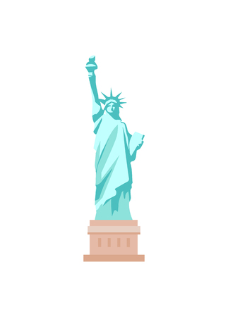 American enormous Statue of Liberty on cubic stand. Monument represented by woman in crown with torch and parchment isolated vector illustration.