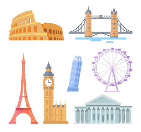 Conjunto de monumentos arquitectónicos turísticos populares del mundo. Atracciones famosas y destinos de viaje. Edificios con estatuas ilustraciones vectoriales aisladas.