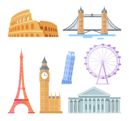 Popular world touristic architectural sights set. Famous attractions and travel destinations. Buildings with statues isolated vector illustrations.