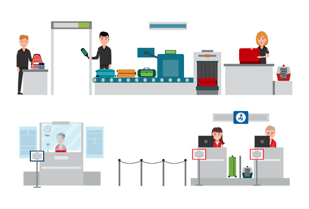 Security men wearing uniform checking luggage, x- ray on conveyor, passport control with information and weighing of baggage, vector illustration