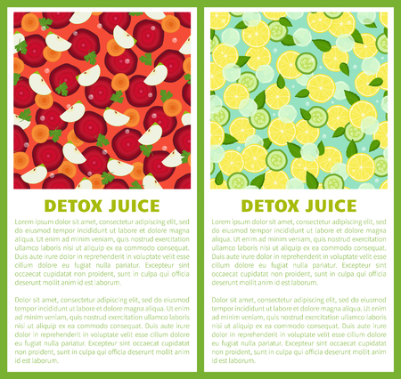 Detox juice poster ingredients of refreshing drink vector set of banners with vegetarian beet, carrot pieces, cut apple and cucumbers, place for text