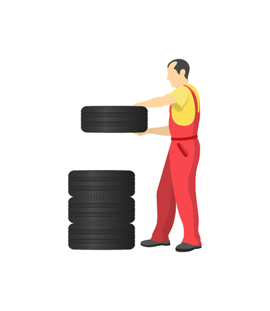 Auto mechanic wearing costume, male putting big rubber tyre in place, car repairing and maintenance, working person isolated on vector illustration