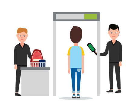 Control of Luggage in Airport Vector Illustration