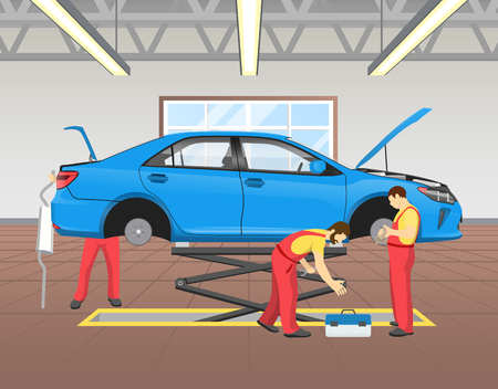 Repairing Blue Car in Garage Vector Illustration Stockfoto