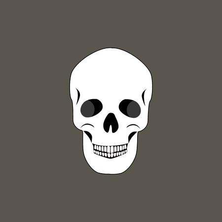Skull of Human Organism Black Vector Illustration 스톡 콘텐츠