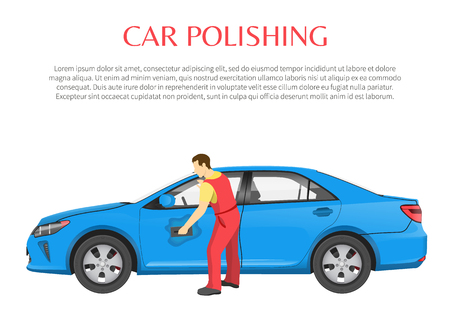 Car Polishing Poster and Text Vector Illustration