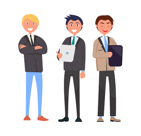 Three self-confident men in elegant suits vector illustration business characters with notebook and handbag isolated on white, managers in flat style Illustration