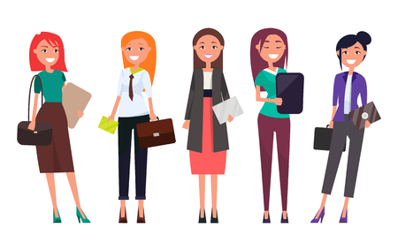 Set women in formal wear with laptops envelopes and handbags in hands vector illustration successful businesswomen in flat style cartoon design isolated Illustration