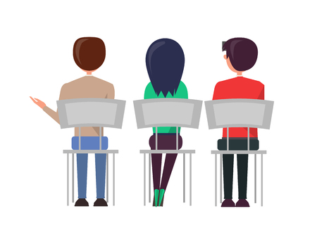 Man and woman sitting on chairs and discussing something back view. Business meeting of employeers, people at briefing vector illustration