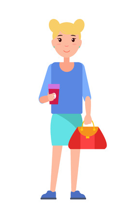 Blonde girl student in blue blouse and skirt, cup of coffee in hands and red handbag, stylish college woman in cartoon style design vector isolated Illustration