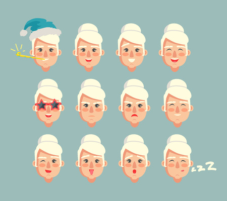 Grandmother constructor set of grannies heads smiling cartoon granny with different emotions vector emoji of grandma isolated on grey, sad and happiness