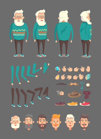 Grandfather constructor set of icons and emotion of elderly man, vintage hat, mobile phone in hand, green banknote pipe collection vector illustration