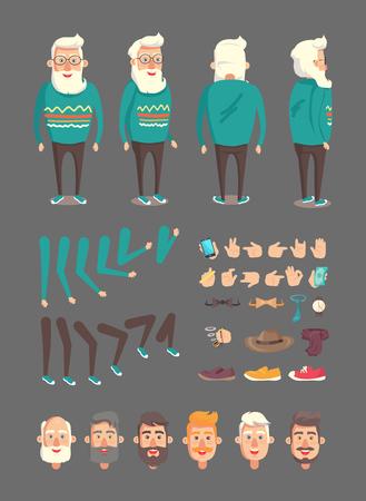 Großvater-Konstruktor-Set von Symbolen und Emotionen des älteren Mannes, Vintage-Hut, Handy in der Hand, grüne Banknotenpfeifen-Sammlungsvektorillustration