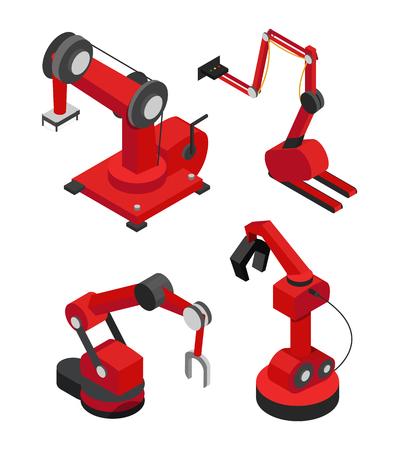 Industrieroboter für effiziente Produktionsvektorillustration von roten Mechanismen mit verschiedenen Düsen, automatischen Helfern in Werken und Fabriken
