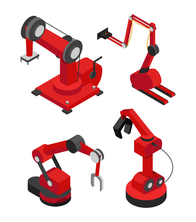 Robot industriali impostati per una produzione efficiente illustrazione vettoriale di meccanismi rossi con diversi ugelli, aiutanti automatici in impianti e fabbriche