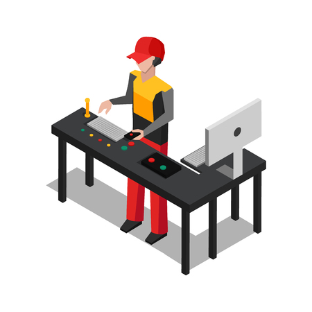Worker dealing with devices, working man wearing uniform, computer monitoring table full mechanisms vector illustration isolated on white background  イラスト・ベクター素材