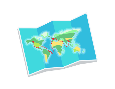 World map for travelling issues, to travel easily, paper with countries and oceans drawn schematically, vector illustration isolated on white background