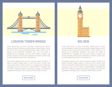 London Tower Bridge and Big Ben as famous British sights. England attractions promo banners. Places of interest posters vector illustrations set.