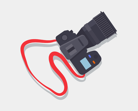 Camera icon with red strap, professional device for making photos and capturing some memories, digital era equipment isolated on vector illustration Foto de archivo - 111971655