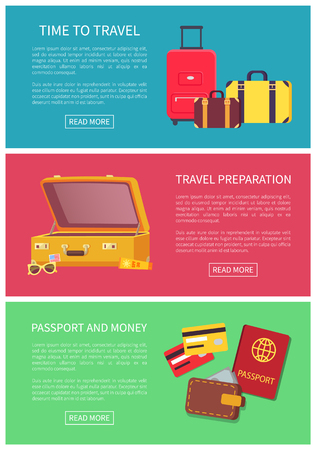 Time to travel preparation money and passport colorful vector illustration with credit cards and documents for traveling, suitcases set, text sample