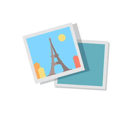 Picture from journey to Paris with Eiffel Tower. Trip around France photo. European attraction on sunny day square image cartoon vector illustration. Иллюстрация