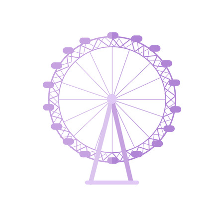 Huge London Eye as popular tourist destination. Biggest ferris wheel of England. Famous Great Britain sight isolated cartoon vector illustration.