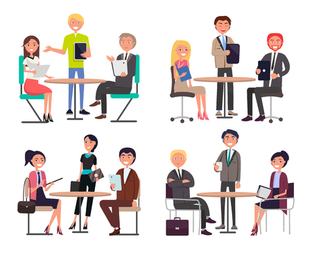 Men and women around tables discuss work issues set. Office workers team in formal clothes at business meeting isolated cartoon vector illustrations. Vektoros illusztráció