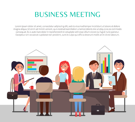 Business meeting poster with workers at table. Men and women on conference analyze graphics or charts banner that has sample text vector illustration. Ilustração