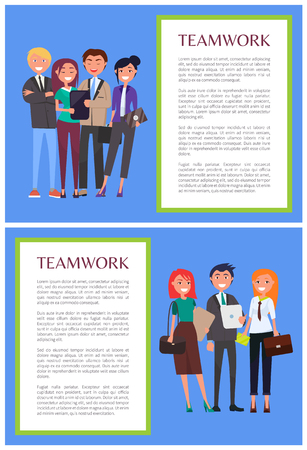 Teamwork informative banners with sample text. Coworkers stand in small groups and hold leather briefcases or modern tablets vector illustrations set.