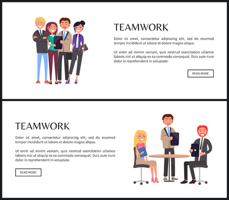 Teamwork for success of company promo banners. Office employees in formal clothes work together web pages with sample text vector illustrations set.