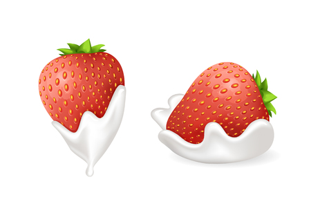 Tasty strawberries in fresh whipped cream set. Berry doused inside delicious dairy product. Natural summer dessert isolated vector illustrations.