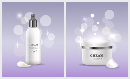 Cream vitamin A products collection created for women to take care of face skin, tubes and labels with information isolated on vector illustration