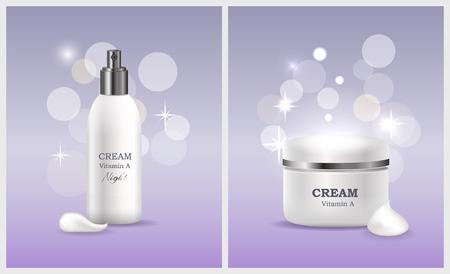 Creme-Vitamin-A-Produktkollektion für Frauen zur Pflege von Gesichtshaut, Tuben und Etiketten mit Informationen isoliert auf Vektorillustration Vektorgrafik