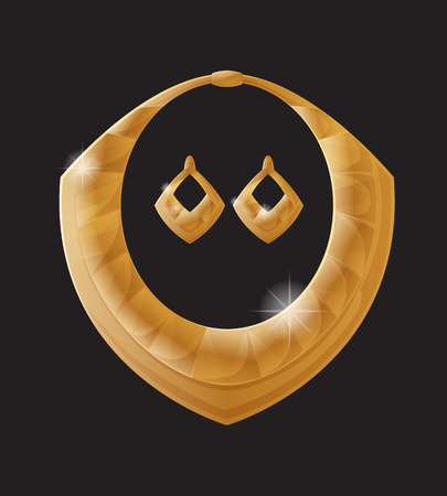 Gouden sieraden goudstukken samengesteld uit rijk materiaal, oorbellen en ketting collectie, elegante set voor vrouwen accessoires vector illustratie op zwart