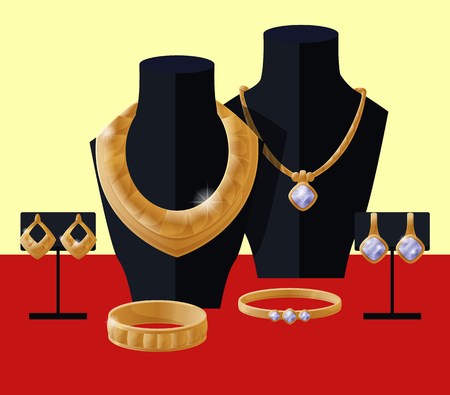 Jewelry presentation showcase, accessories placed on mannequins in shop to show assortment of earrings, bracelets and necklace vector illustration