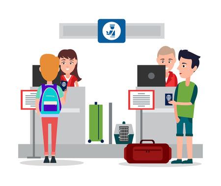 Contrôle des passeports à l'aéroport, travailleurs sympathiques assis près des comptoirs et vérifiant les cartes d'identité des passagers, pesant les bagages, illustration vectorielle