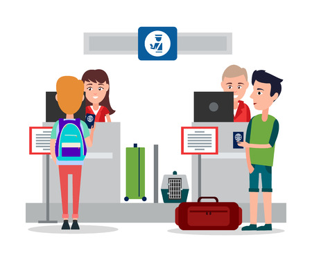 Passport control in airport, friendly workers sitting by counters and checking identity cards of passenger, weighing luggage, vector illustration