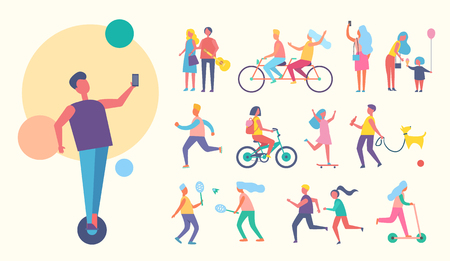 People doing sport active lifestyle, playing tennis, cycling together, walking dog, taking pictures and selfie skating collection vector illustration Ilustração